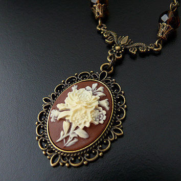 Victorian Gothic Flower Cameo Necklace Heirloom Elegant by skaior