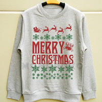 S M L -- Funny Merry Christmas TShirts Santa Shirts Christmas Sweatshirt Jumpers Long Sleeve Sweater Unisex Shirts Women TShirts Men TShirts