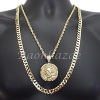 """ICED OUT JESUS FACE ROPE CHAIN DIAMOND CUT 30"""" CUBAN CHAIN NECKLACE SET G22"""