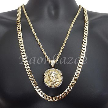 "JESUS FACE ROPE CHAIN DIAMOND CUT 30"" CUBAN CHAIN NECKLACE SET G22"