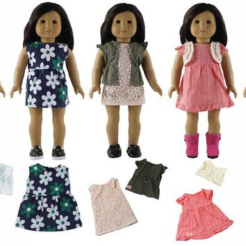 New 5 PCS  Doll Clothes for 18'' American Girl Doll Handmade Lovely Student Clothes S11