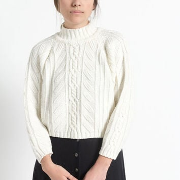 Vintage 80s Ivory White Cropped Cable Knit Turtleneck Sweater | S/M