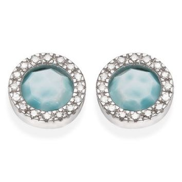 Monica Vinader Naida Diamond & Larimar Circle Stud Earrings | Nordstrom