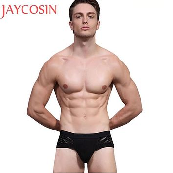 Plus Size XL-XXXL Men Sexy Lingerie Bamboo Fiber Underwear Male Boy Breathable Mesh Panties Smooth Triangle Brief Knickers Ma4