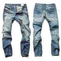 Denim Men Ripped Holes Slim Jeans [6528533635]