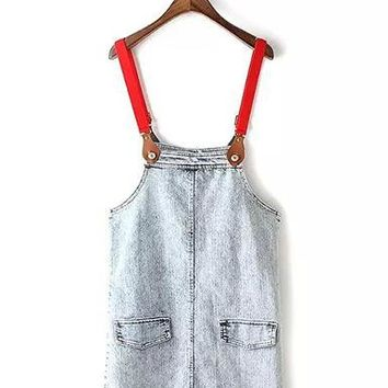 Womens Denim Dungaree Dress - Red Straps / Pockets On Front