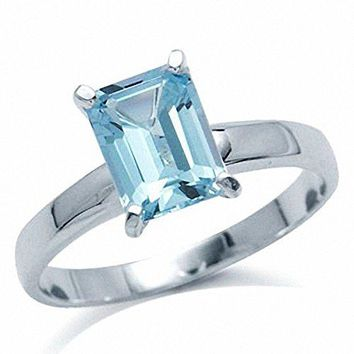 17ct Genuine Blue Topaz 925 Sterling Silver Solitaire Ring