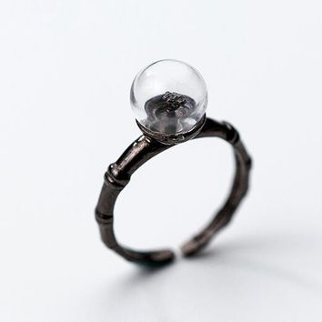 (Thin &Small ) REAL.925 Sterling Silver Fine Jewelry Round Glass on the black branch Ring fashion GTLJ1255