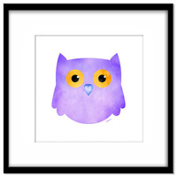 Owl Nursery Download, Printable Poster, Kid's Art, Lilac, Baby's Room