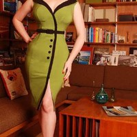 Dixiefried Sexy Secretary Dress in Olive Green Stretch Bengaline with Black Trim