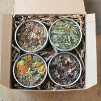 Herbal Tea Gift Set, Four Tea Tins of Your Choice, Loose Leaf Handmade Organic Teas