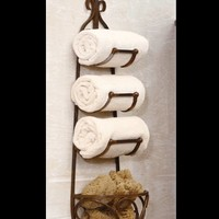 forged iron bath rack for towels | forged iron wine rack