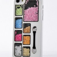 Big Mango Deluxe Bling Colorful Eyeshadow Cosmetic Box Moving Diamond Protective Shell / Hard Back Case Cover for Apple iPhone 5 5s 5g ( At&t, Sprint, Verizon ) - White