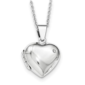17mm Diamond Heart Locket Necklace, Rhodium Plated Silver, 18-20 Inch