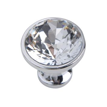 "Gleam Crystal Cabinet Knob, 1.2"" Diameter, Polished Chrome"