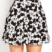 FOREVER 21 Hey Mickey Skater Skirt White/Black