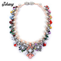 2016 New Fashion Luxury Brand Necklaces & Pendants Shourouk Pearl Jewelry Flower Statement Necklace Choker Collar For Women