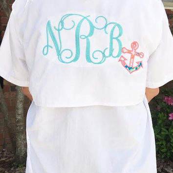Monogrammed Fishing Shirt with appliqued anchor-Lily Pulitzer fabric- Great for swimsuit cover ups