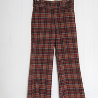 """Vintage 70s Plaid Polyester Disco Golf Knit Pants Bell bottoms Check 27"""" W"""