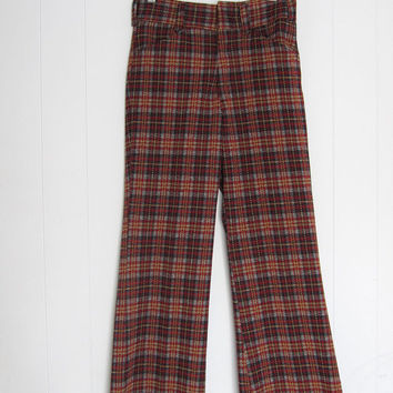 "Vintage 70s Plaid Polyester Disco Golf Knit Pants Bell bottoms Check 27"" W"