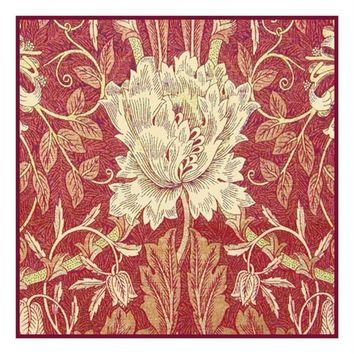 William Morris Wild Tulip Red Design Counted Cross Stitch or Counted Needlepoint Pattern