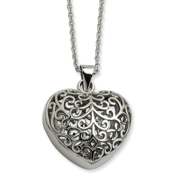 Stainless Steel Filigree Puffed Heart Pendant Necklace SRN601