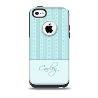 The Seamless Blue Subtle Floral Strips Name Script Skin for the iPhone 5c OtterBox Commuter Case