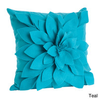 Ivory Felt Flower Design Pillow (17 x 17) | Overstock.com