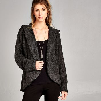 Pebble Knit Hooded Cardigan