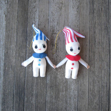 Adorable Vintage Christmas Pixies with Striped Caps - Vintage White Pixie Elves Made in Japan - Peppermint Candy Stripe Elves - Retro Pixies