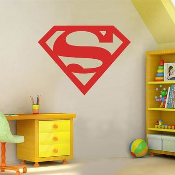 Superman Superhero 3D Logo Wall Sticker Children Room Avengers  Supernman Monogram Wall Decal Easy Removable Cut Vinyl Carve