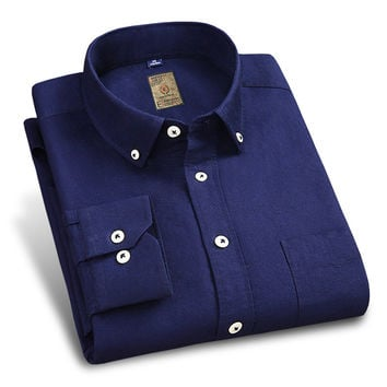 New Spring Oxfrod Men Shirts Button-up Collar Solid Color High Quality Clothes Cotton Soft Navy Men Social Casual Shirt