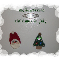 Christmas in July Crochet Santa Claus and Christmas Tree Magnets or Ornaments Decoration