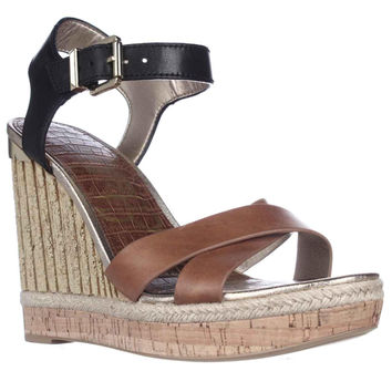 Sam Edelman Clay Wedge Ankle Strap Sandals, Saddle/Black, 10 US / 41.5 EU