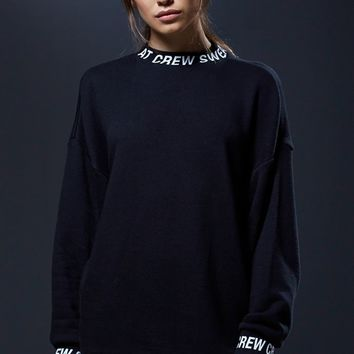 Sweat Crew Mock Neck Pullover Sweatshirt - Womens Hoodie - Black