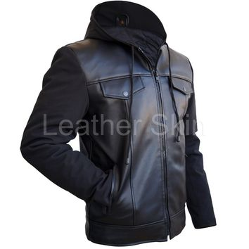 Men Black Hood Leather Jacket
