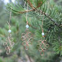 Fancy Hand-Looped Copper Wire Christmas Tree Holiday Ornaments Decorations With Light Blue Aquamarine Bead, Set of Three, Metal Ornaments