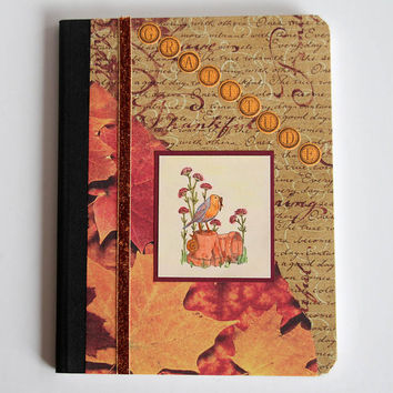 Gratitude Journal, Handmade Notebook for Giving Thanks, Altered Composition Book with Lined Pages, Bird Journal for Writing Down Blessings