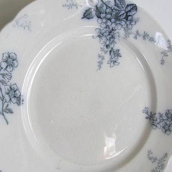 Flow Blue Plate Blossom Pattern Alfred Meakin England Flow Blue Couple Blue and White Plates Antique Dinner Plates Blue collectible Plates