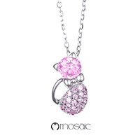 Fine Silver Love Cat Pink Crystals Necklace