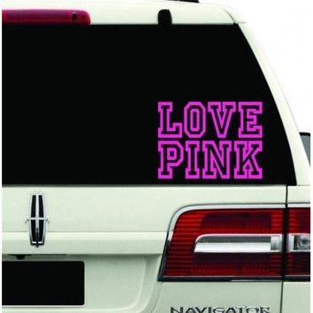 Love Pink Decal Sticker Hot Pink girl sexy lip mark kiss chick Room Car Wall cute fun for Car Room Wall Car Laptop