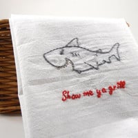 Funny Kitchen Towel - Hand Embroidered - Shark