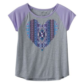 Awake Graphic Raglan Tee - Girls 7-16, Size: