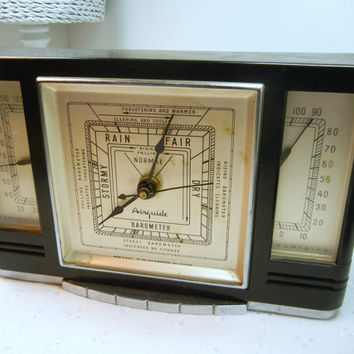 Vintage Barometer Trio by Airguide / Home decor / Black Metal / Industrial / Thermometer Humidity / Art Deco / Stemwedel / Rain stormy