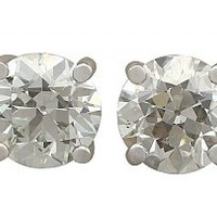 4.86 ct Diamond and 18 ct White Gold Stud Earrings - Antique Circa 1900 and Contemporary