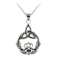 Claddagh Celtic Knot Necklace - Silver ( 18 )