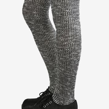 Speckled Knit Thigh High Socks