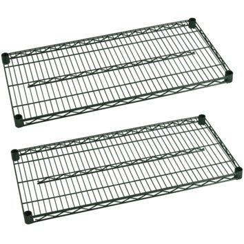 "Commercial Heavy Duty Walk-In Box Green Epoxy Wire Shelves 21"" x 48"" (Pack of 2)"