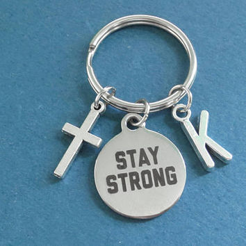 Personalized, Letter, Initial, Cross, STAY STRONG, Silver, Keychain, Birthday, Best friends, Gift, Jewelry, Accessory