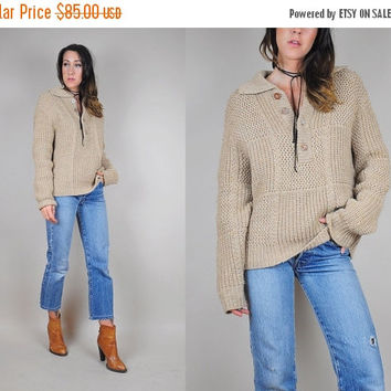 SALE 70's WOOL oatmeal boyfriend Sweater